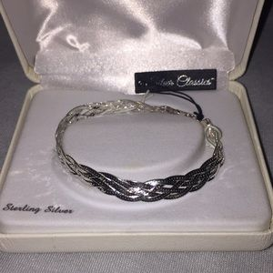 Jewelry - Platinum over Sterling Silver Twist Bangle